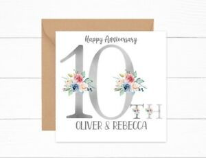 Personalised 10th Anniversary Card Tin Wedding Couple Daughter Son Friends