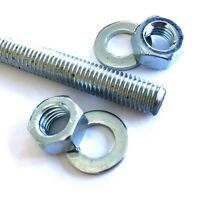 7mm Threaded Bar - M7 Mild Steel Zinc Plated Rod Studs With Full Nuts & Washers