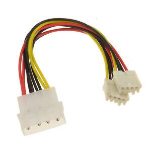 Power Splitter Cable - 4 pin LP4 Molex to 2 x 4 pin Floppy Plugs
