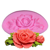 3D Rose Flower Silicone Cake Molds Fondant Chocolate Decorating Baking Moulds tq