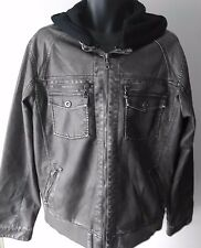 Gray SURPLUS Imitation Leather Jacket Coat with Detachable Hood Men's size XL