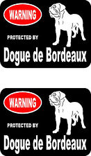 2 protected by Dogue de Bordeaux dog home bumper window vinyl decals stickers