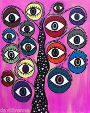 Mexican Folk Art Hot Pink Evil Eye Tree Flowers AMBROSINO ACEO Canvas Print