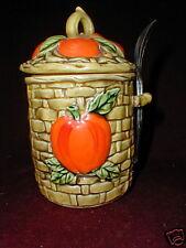 Lefton China FIESTA  Basket Weave Hand Painted Instant Coffee Jar + Spoon