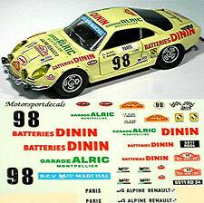 Renault Alpine A110 Dinin RMC 1977 #98 - 1:43 Decal Abziehbild
