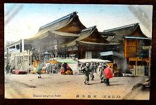 TENMAN TEMPLE AT OSAKA JAPAN Hand Colored Postcard 1924