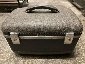 Vintage American Tourister Gray Train Case Makeup Vanity Hard Luggage Suitcase