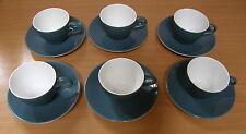 Vintage/Rétro POOLE Lune Bleue Lot de six tasses à café et soucoupes