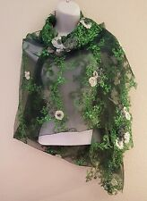 New Green Embroidered Floral Tulle Lace Top Shrug Wrap Bridal Wedding Jacket
