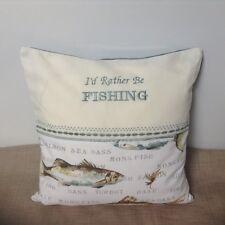 Handmade cushion cover, fish print fabric, machine embroidered, Dad, Grandad