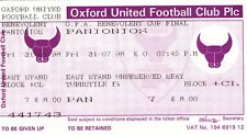 Ticket - Oxford United v Panionios 31.07.98 Oxfordshire Benevolent Cup Final