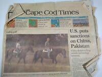 CAPE COD TIMES MA NEWSPAPER Aug. 26, 1993 U.S. PUTS SANCTIONS ON CHINA, PAKISTAN