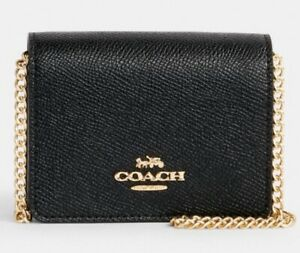 Coach Mini Leather Wallet On a Chain- Black (C0059) FAST FREE SHIPPING