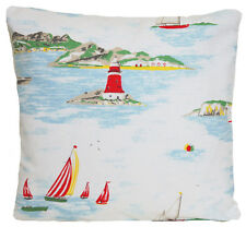 """Cath Kidston Fabric Cushion Cover Boats Lighthouse Sea Side Blue White Red 14"""""""