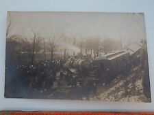 VTG RPPC STEAM ENGINE TRAIN WRECK PHOTO GREAT DETAILS MAIL OR BANK CARS