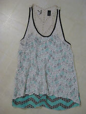BKE BOUTIQUE PIECED TANK TOP from BUCKLE / MINT, BLACK & IVORY / M / BNWOT