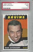 1965 Topps hockey card #103 Ron Stewart, Boston Bruins graded PSA 7 NM