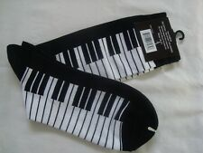 PIANO Keyboard Socks Men's  Size 10-13 Black/White Great Music Gift NWT