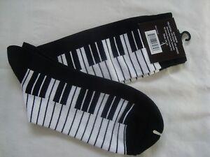 Men's PIANO Keyboard Socks Size 10-13 Black & White Great Music Gift NWT