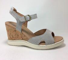3a4a9a00b5b6bc Born Puno Size 9 Light Grey Suede Leather Cork Wedge Platform Sandals