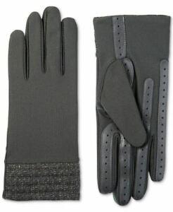 Isotoner SmartDRI Spandex Touchscreen Gloves Herringbone Cuff, Gray, L/XL