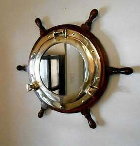 "Nautical Porthole Captain ship wheel 18"" Handmade Decal Wall mirror wooden GIFT"