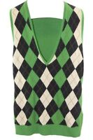 J Crew Womens Ladies Argyle Green Black Cream Merino Wool Sweater Vest Size M