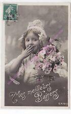 CPA postcard photo Edwardian CHILD girl MES MEILLEURS BAISERS Edit C.M. ca1909