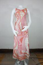 Vintage 50's metallic sequin dress XS/S maxi shift mint champange cocktail pink