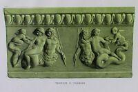Ancient Rome Terracotta Tile-Plate IX-Orig Folio Lithograph Campana Relief 1851