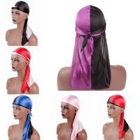 Women Men Solid Fashion Silky Durag Head Wrap Cap Summer Bandannas Rag Hat Gift