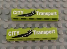 LEGO Lot of 2 Lime Green 1x6 City Transport Sticker Bricks from 8404