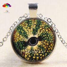 Vintage Cabochon Tibetan Silver Glass chameleon eye Chain Pendant Necklace zqd64