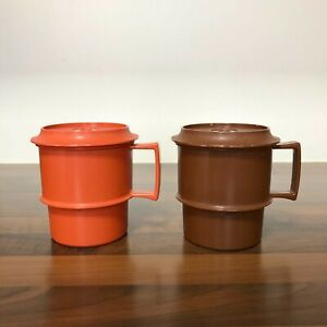 Tupperware Mugs w Lids/Coasters x 2 | 1970s Stacking Cups | Picnic | Camper Van