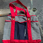 Gemline canvas tote bag Starbucks logo red white blue stripes patriotic 11x15