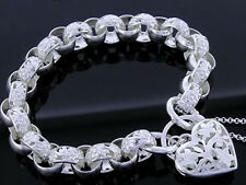 SOLID 925 STERLING Silver Blossom Belcher Bracelet Filigree Heart Padlock 20.5cm