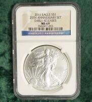 2011 NGC MS 69 Eagle Silver Dollar, MS69 Early Release 1 oz Silver $1 Coin