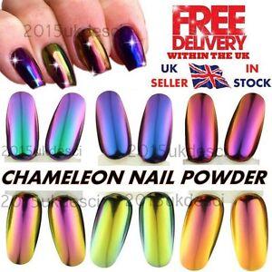 Mirror Chrome Pigment Chameleon 6 Colour Nail Art Powder No Wipe Top Coat