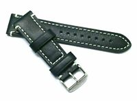22mm Black Quality Leather Contrast Stitch Replacement Watch Strap - Glycine 22