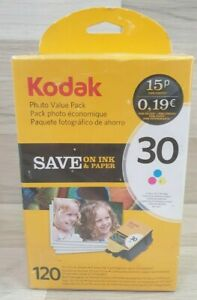 Kodak 30CL Colour Ink Cartridge Value Pack with Photo Paper New Sealed