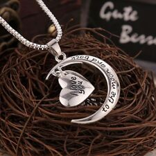 925 Sterling Silver I Love You To The Moon And Back Necklace (Pendant + Chain)