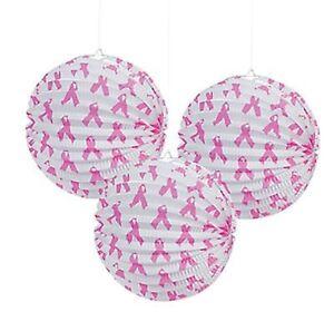 3 x Pink Ribbon Paper Lantern Breast Cancer Awareness Party Decoration Lantern