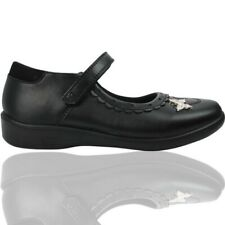 Goody 2 Shoes Girls Black matt School Shoes with butterfly trim Free P&P RRP £18