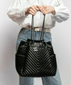 VERIFIED Authentic CHANEL Chevron Quilted Leather Urban Spirit Drawstring Bag