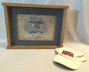 Legacy Quest Outdoors NRA Seal Wood Frame Wall Hanging Philip Meece & NRA Hat