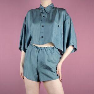 VINTAGE Rework Blue Womens Retro Crop Two Twin Piece Set Shirt Top Shorts S 8 10