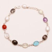 Natural Multi Gemstone 925 Sterling Silver Bezel Bracelet Women Fine Jewelry New