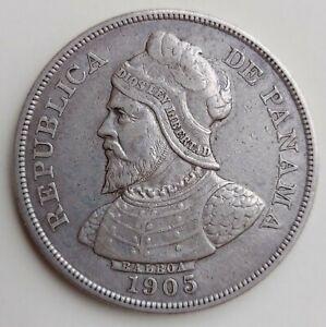 PANAMA 1905 50 Centesimos Silver Coin. VF - SCARCE