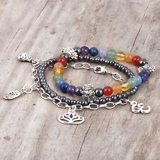 Chakra 3 Bracelet Set, Gemstone, Lotus, Ohm, Buddha, Hamsa Charms, Reiki, Chain