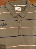 NWT Hurley Men's XXL Green Channels Aloha Long Sleeve 3 Button Polo Shirt